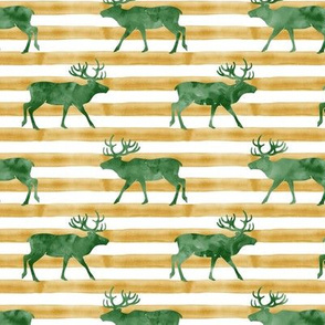 reindeer - green on stripes