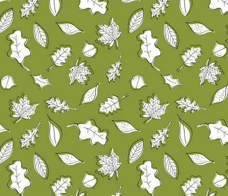 Leaves of Fall - Green fabric by whyitsme_design on Spoonflower - custom fabric