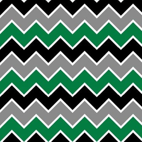 multi traditional chevron - black and green
