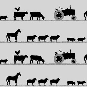 farm animals on parade black  on  light grey