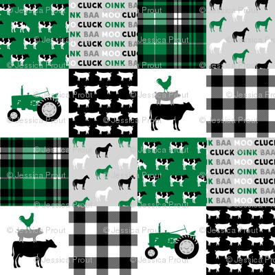 farm life wholecloth - black and green - tractor with plaid