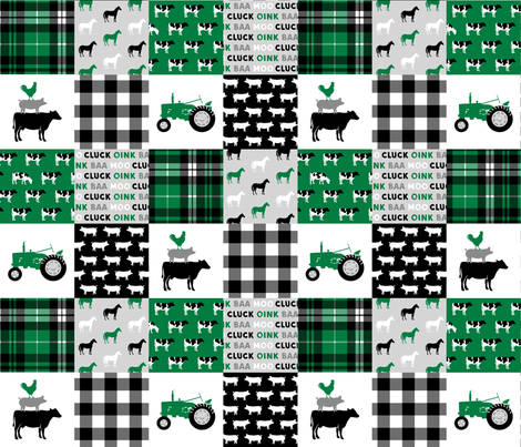 farm life wholecloth - black and green - tractor with plaid fabric by littlearrowdesign on Spoonflower - custom fabric