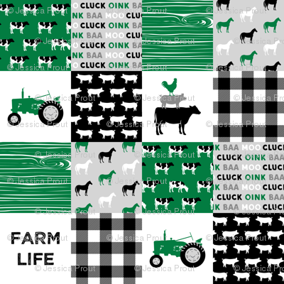 farm life - wholecloth green and black - woodgrain