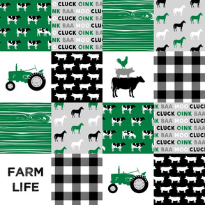 farm life - wholecloth green and black - woodgrain