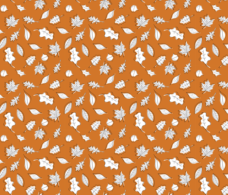 Fall Leaves - Rust - Orange - Small fabric by whyitsme_design on Spoonflower - custom fabric