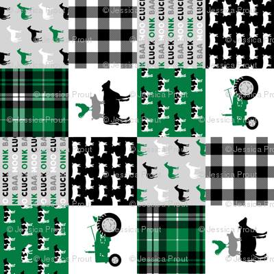farm life wholecloth - black and green - tractor with plaid (90)