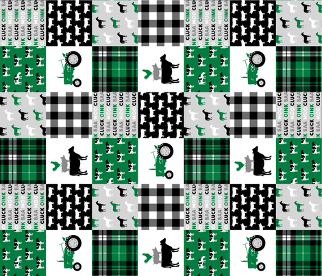 farm life wholecloth - black and green - tractor with plaid (90) fabric by littlearrowdesign on Spoonflower - custom fabric