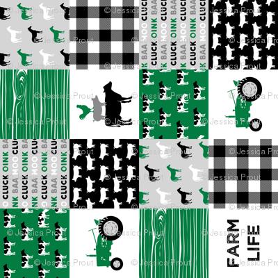 farm life - wholecloth green and black - woodgrain (90)