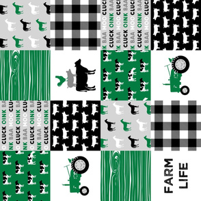 farm life - wholecloth green and black - woodgrain (90)