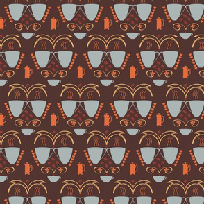 Coffee Folk Art - Grey - Brown - Orange