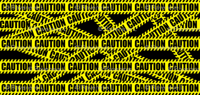 2 caution barricade construction notice warning danger hazard barrier police firefighter tape diagonal stripes life sized pop art novelty