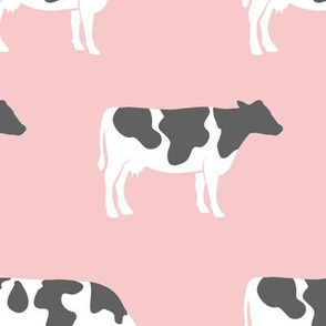 (large scale) cows on pink - farm fabric