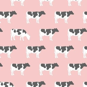 cows on pink - farm fabric
