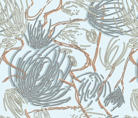 Swany_thistles_Orange fabric by sarahjanke on Spoonflower - custom fabric