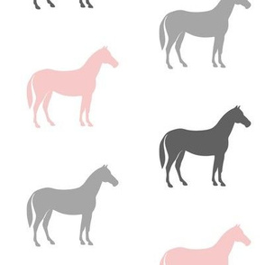 multi horses - pink and grey - farm fabric