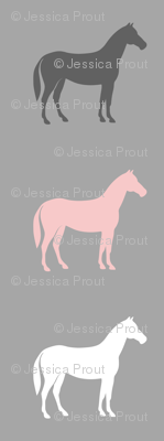 multi horses - pink and grey on grey - farm fabric