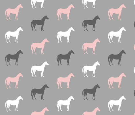 multi horses - pink and grey on grey - farm fabric fabric by littlearrowdesign on Spoonflower - custom fabric