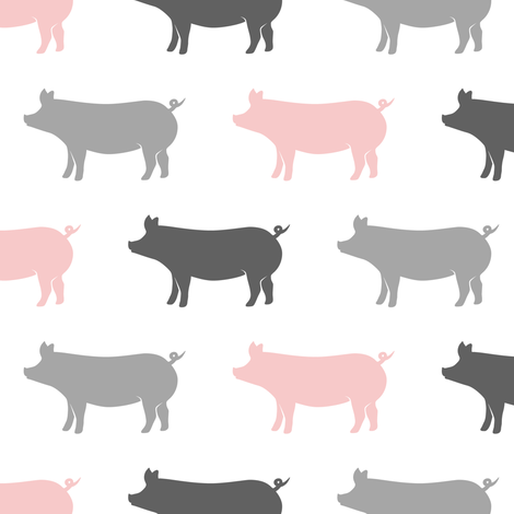 multi colored pigs (pink and grey) fabric by littlearrowdesign on Spoonflower - custom fabric