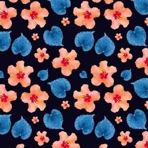Watercolor Orange Hibiscus Flowers Blue Leaves Black Upholstery Fabric