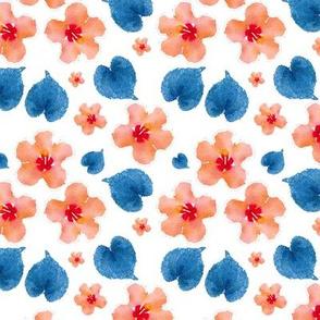 Watercolor Orange Flowers Blue Leaves Upholstery Fabric