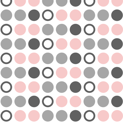 Polka Dots //  pink and grey farm collection coordinate fabric by littlearrowdesign on Spoonflower - custom fabric