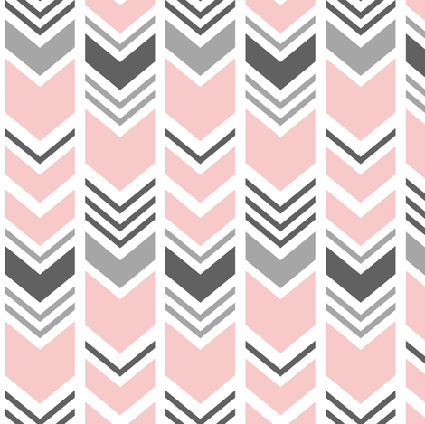 chevron - pink and grey fabric by littlearrowdesign on Spoonflower - custom fabric