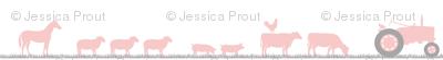 farm animals on parade pink