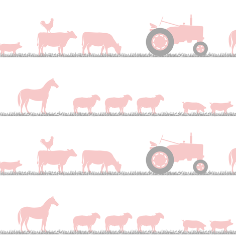 farm animals on parade pink fabric by littlearrowdesign on Spoonflower - custom fabric