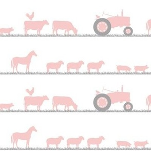 farm animals on parade pink