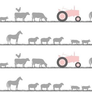 farm animals on parade - pink and grey