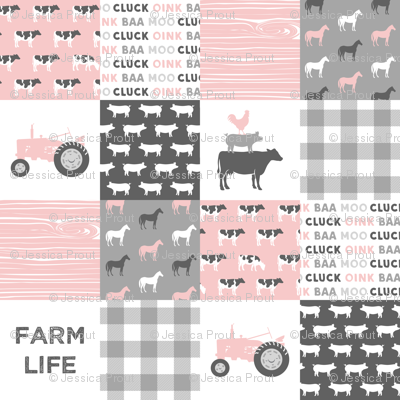 farm life wholecloth - woodgrain - pink and grey farm fabrics