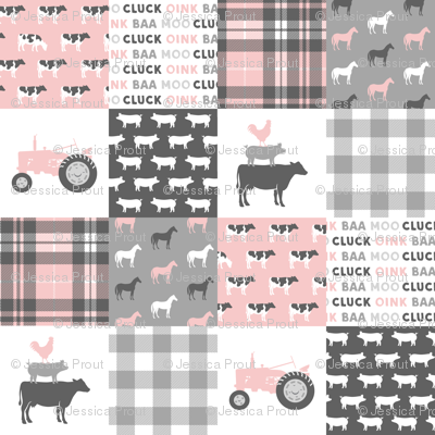 farm life wholecloth patchwork with plaid - pink and grey