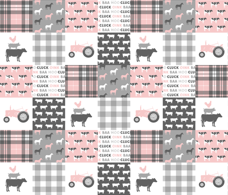 farm life wholecloth patchwork with plaid - pink and grey fabric by littlearrowdesign on Spoonflower - custom fabric