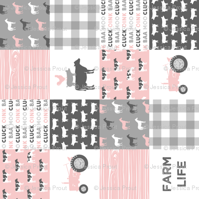 farm life wholecloth - woodgrain - pink and grey farm fabrics (90)