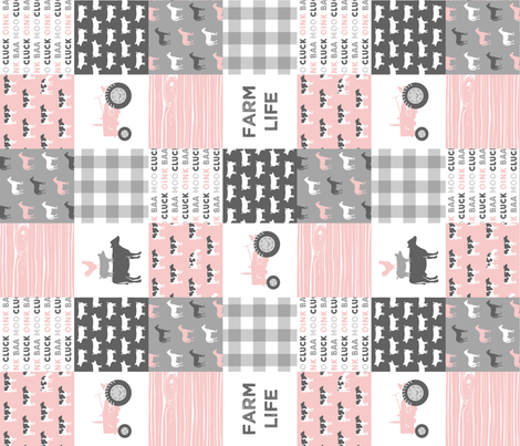 farm life wholecloth - woodgrain - pink and grey farm fabrics (90) fabric by littlearrowdesign on Spoonflower - custom fabric