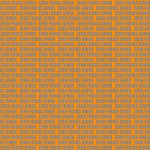 "1/2""ZERO FUCKS orange/grey"