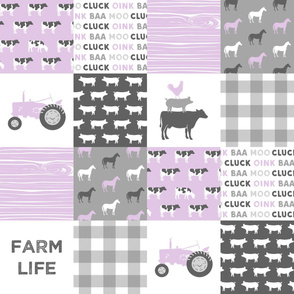 farm life wholecloth - purple