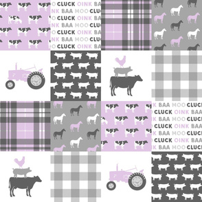 farm life wholecloth  - purple plaid
