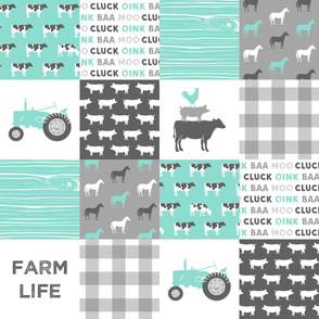 farm life wholecloth - dark aqua woodgrain