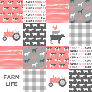 farm life wholecloth - pink coral woodgrain