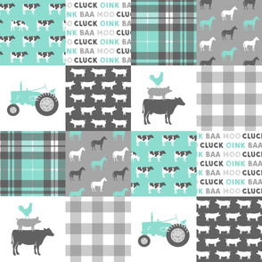 farm life wholecloth - dark aqua plaid