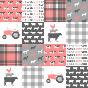 farm life wholecloth - pink coral plaid