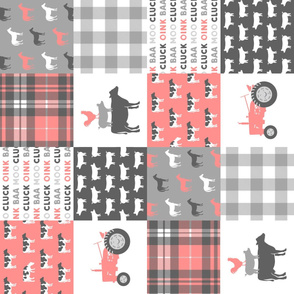 farm life wholecloth (90) - plaid pink coral