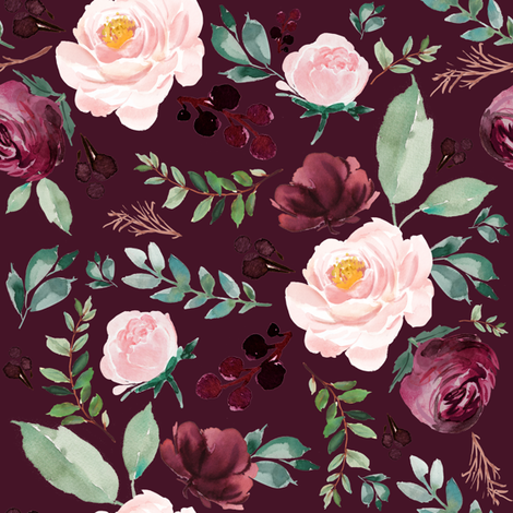 "8"" Wild at Heart Florals / Dark Crimson"