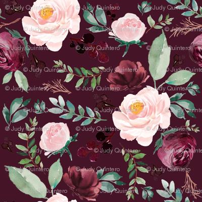 """4"""" Wild at Heart Florals / Dark Crimson"""