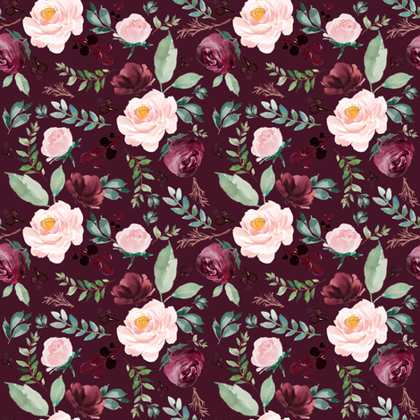 "4"" Wild at Heart Florals / Dark Crimson fabric by shopcabin on Spoonflower - custom fabric"