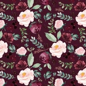 "4"" Wild at Heart Florals / Dark Crimson"