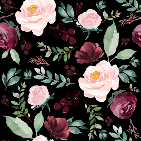 "8"" Wild at Heart Florals / Black fabric by shopcabin on Spoonflower - custom fabric"