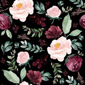 "8"" Wild at Heart Florals / Black"