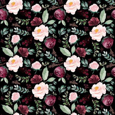 "4""  Wild at Heart Florals / Black fabric by shopcabin on Spoonflower - custom fabric"